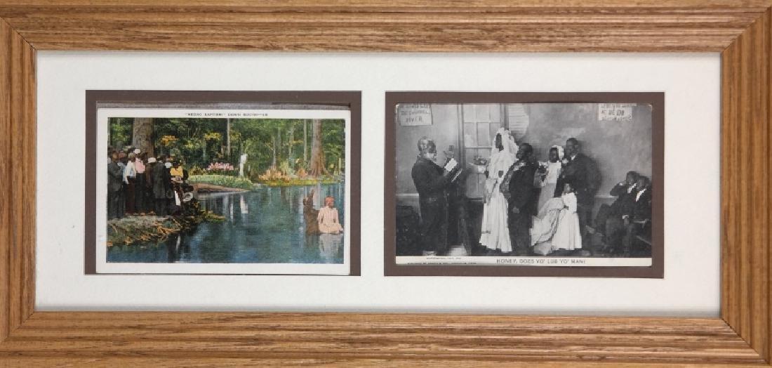 3 framed sets of Black Americana postcards