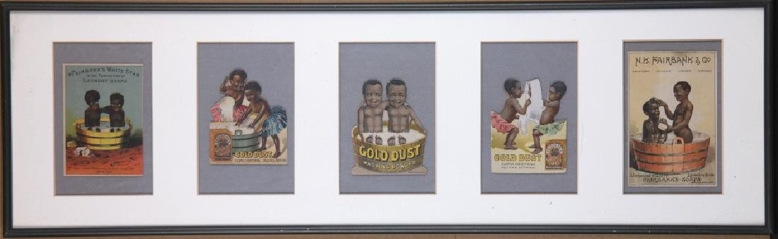 Group of 5 Black Americana trade cards in frame