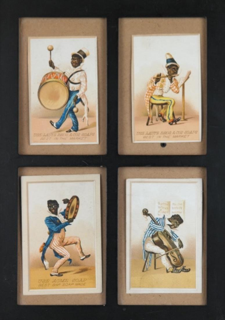 Group of 7 Black Americana trade cards in frames