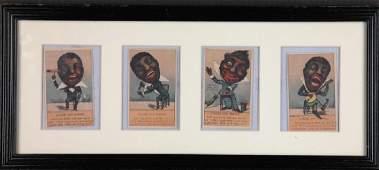 Group of 7 Black Americana trade cards + 1 frame