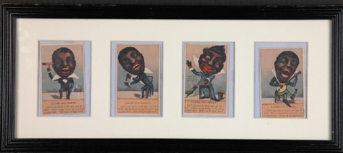 Group of 7 Black Americana trade cards + 1 frame