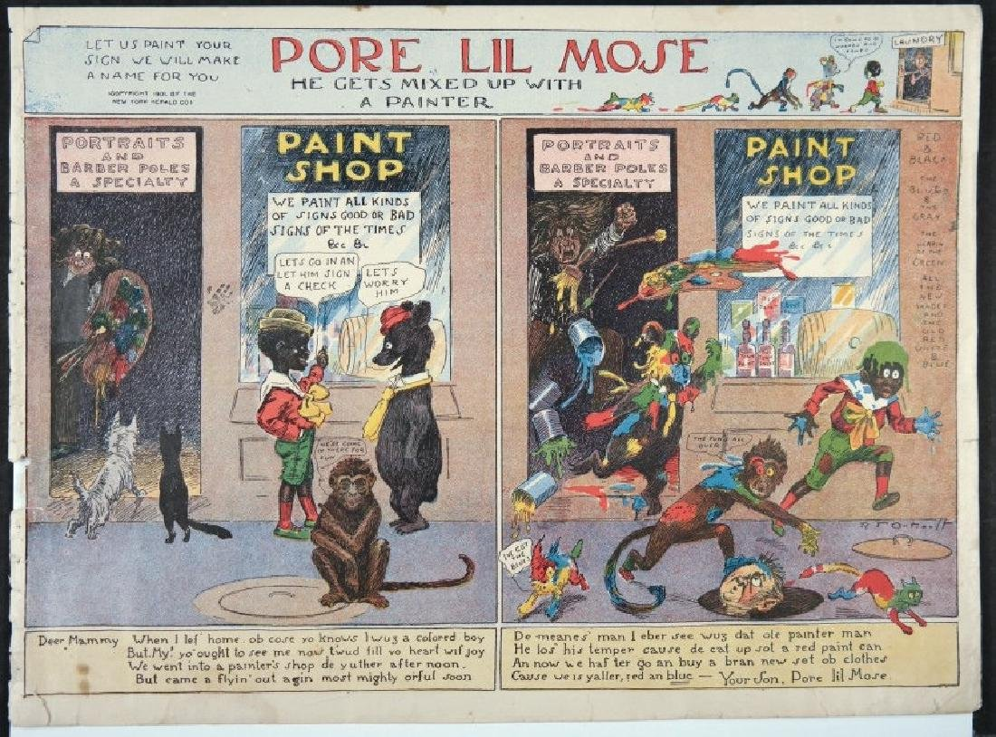 "10 cartoons from ""Pore Lil Mose"" (1902)"