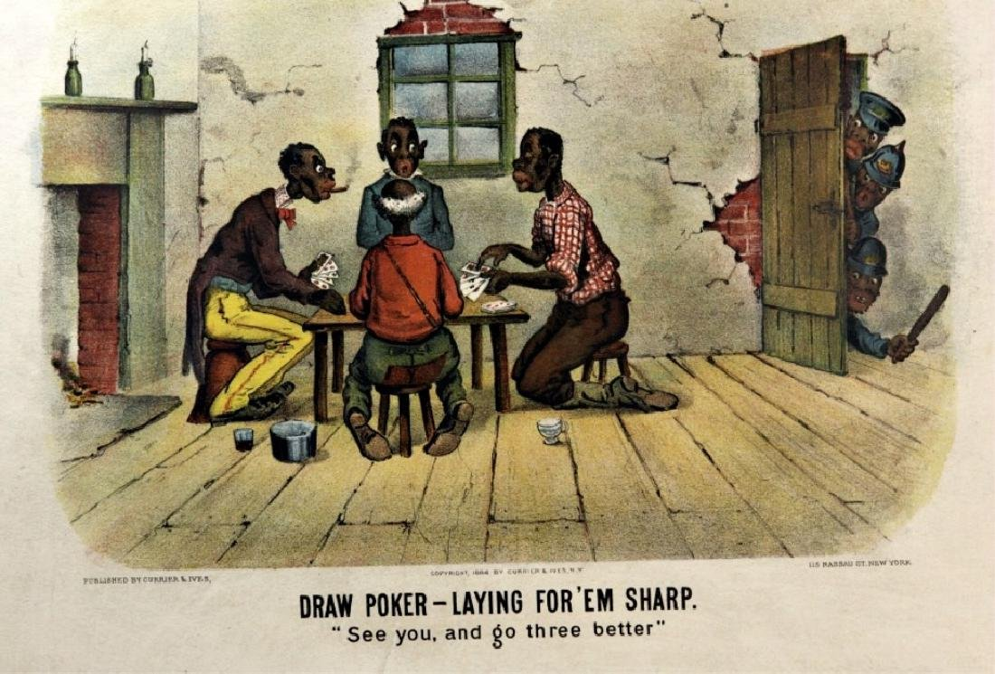 2 Currier & Ives prints: Draw Poker. 1886.
