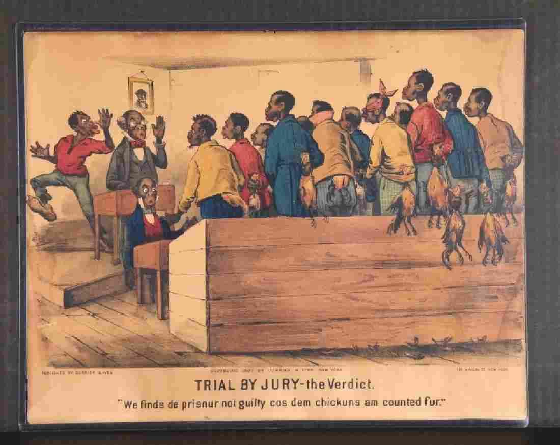 2 Currier & Ives: A Darktown Trial + Trial By Jury