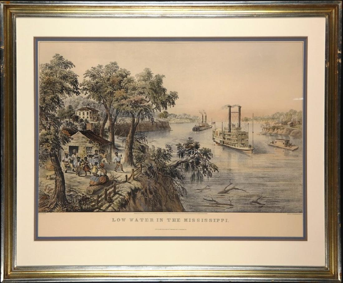Low Water In The Mississippi. Repro Currier & Ives
