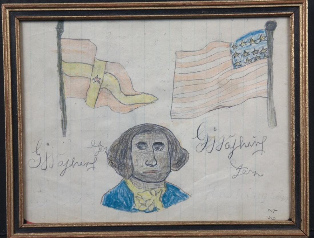 3 drawings by a child, incl black G. Washington.