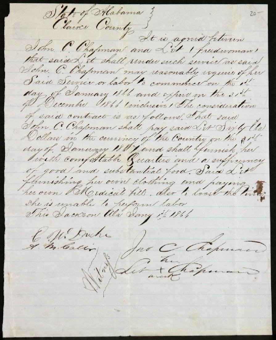 2 slavery/servitude contracts, 1812, 1866.