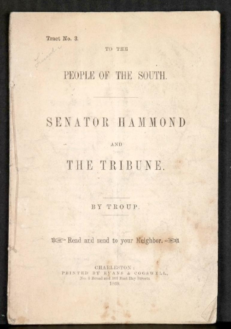 Senator Hammond And The Tribune. By Troup. 1860.