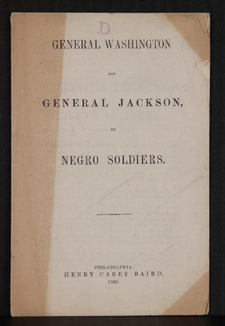 2 pamphlets: Slavery, 1860 + soldiers, 1863.