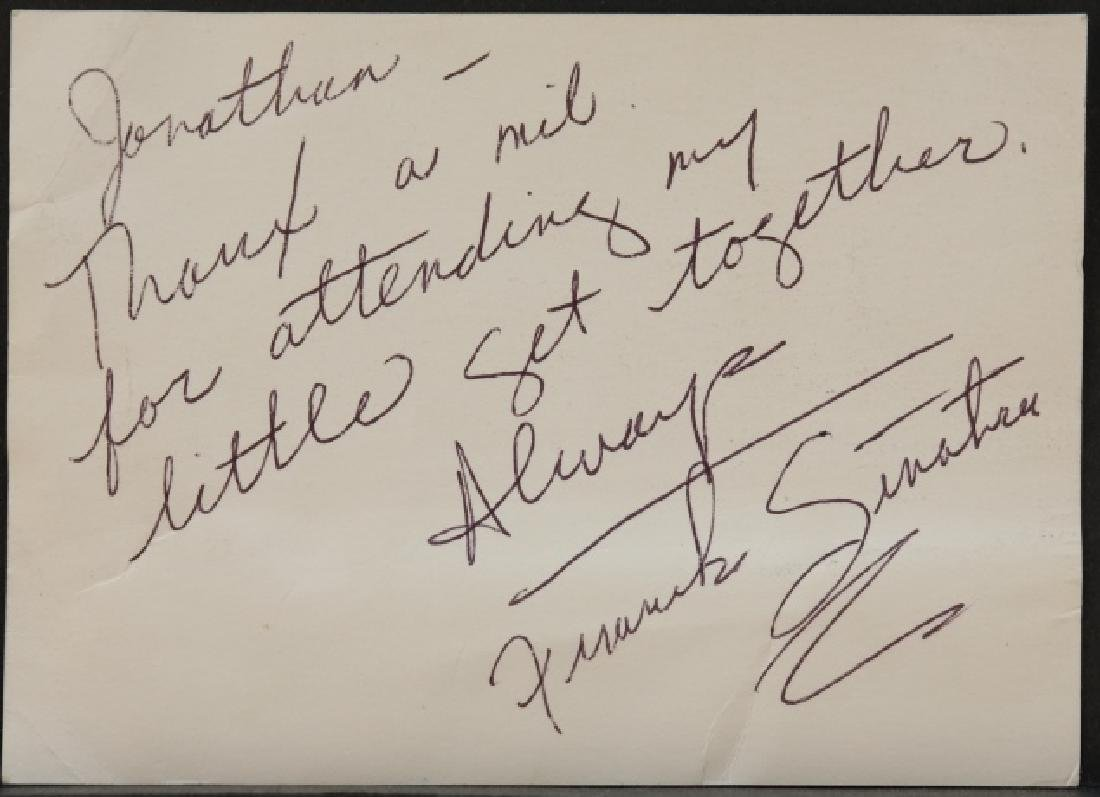 Frank Sinatra. Autograph signed note.