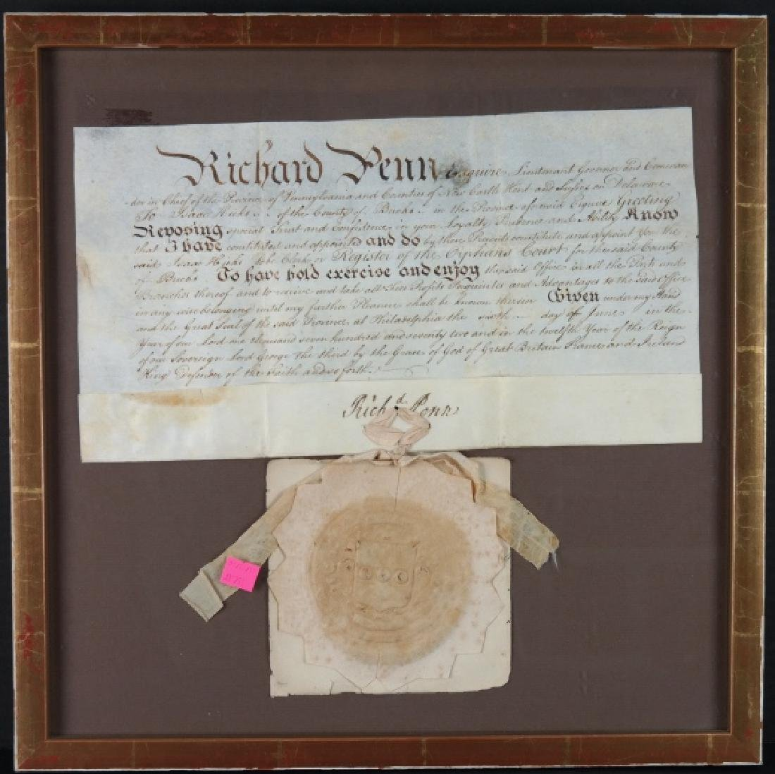 Richard Penn. Signed commission. 1772. Vellum.