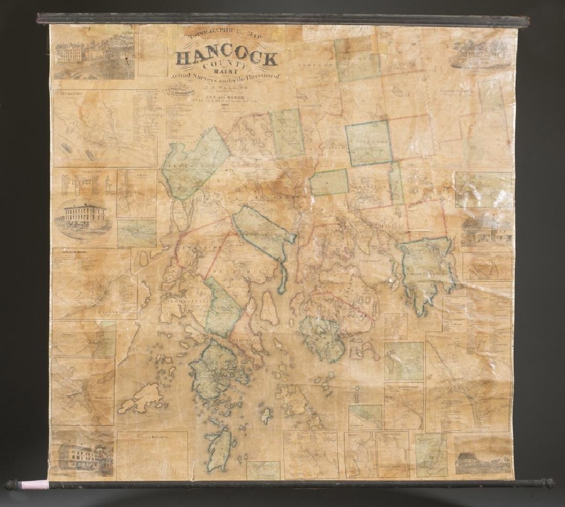 Topographical Map Of Hancock County Maine. 1860.