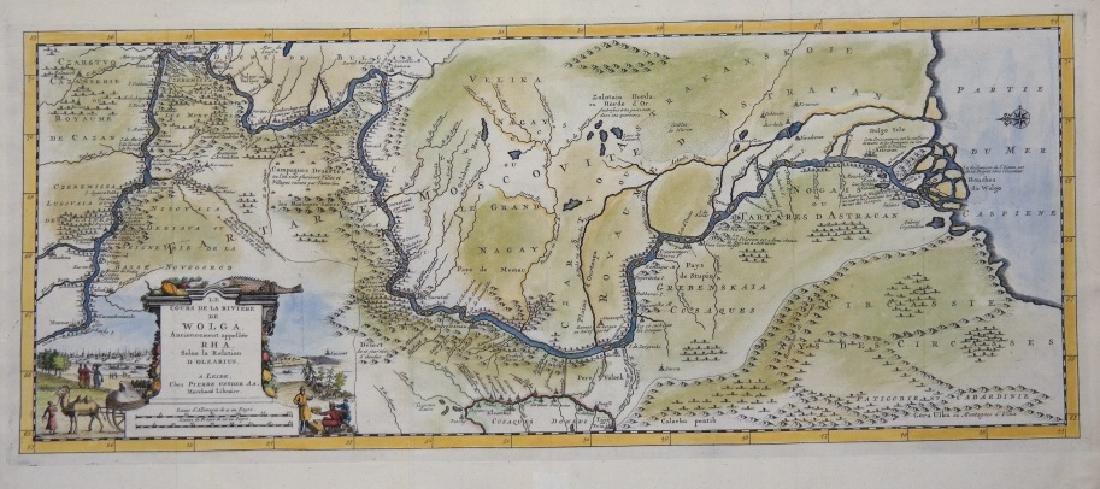 Le Cours De La Riviere De Wolga (Volga River map).