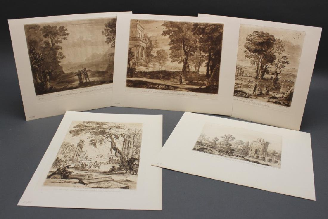 5 etchings: Richard Earlom after Claude Lorrain