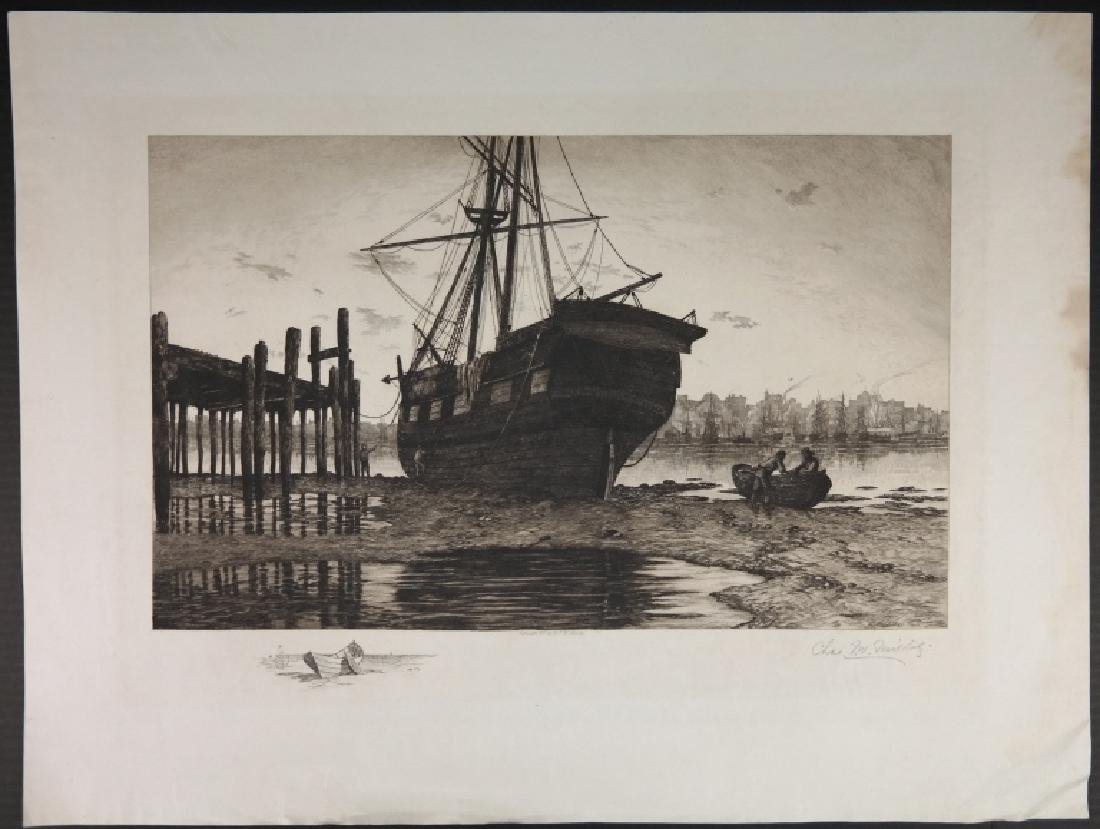 3 etchings by Mielatz, Wellstood, 1 other.