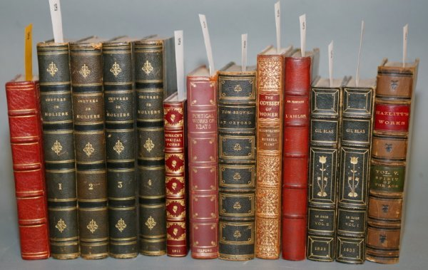 1019: [MISCELLANY]. 13 titles in various leather.