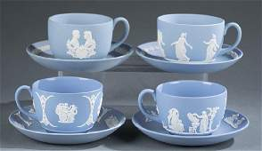 4 Wedgwood jasperware cups and saucers. Late 20th