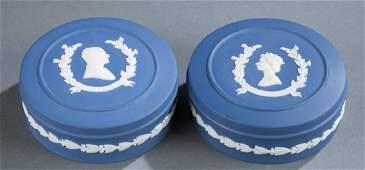2 Wedgwood jasperware boxes. 1977 & 1960.