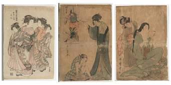3 Japanese woodblock prints.
