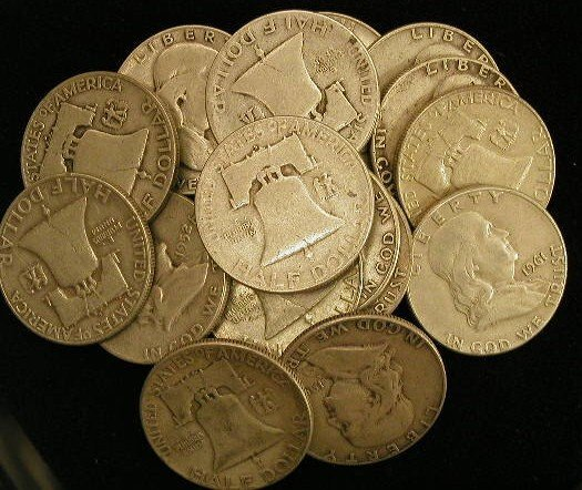 420: Lot of 20 Franklin half dollars.
