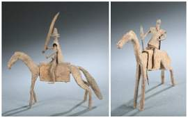 2 Bamana equestrian iron figures. 20th century.