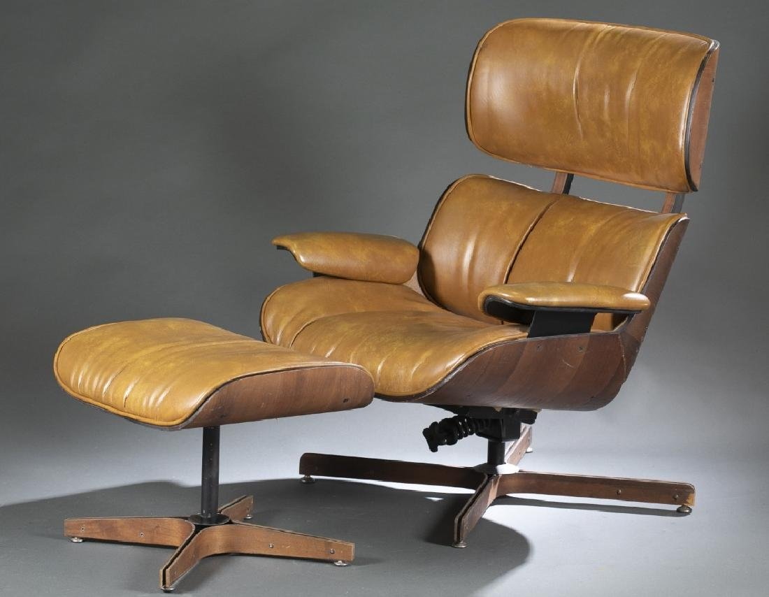 Plycraft lounge chair and ottoman.