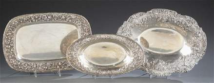 3 Sterling silver Kirk & Son serving dishes.