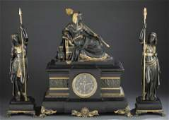 French Egyptian revival bronze clock set S Marti