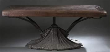 Pauls Evans style adjustable metal base table.