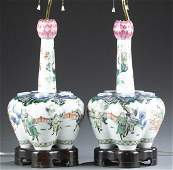 Pair of Chinese porcelain vase lamps