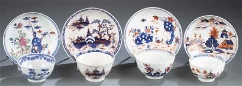 4 sets of Lowestoft tea bowls and saucers.
