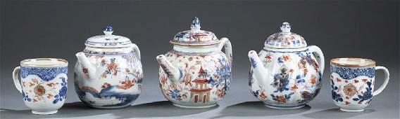 5 Chinese export Imari porcelain pieces.