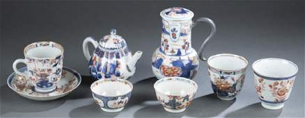 8 Chinese export Imari porcelain pieces.
