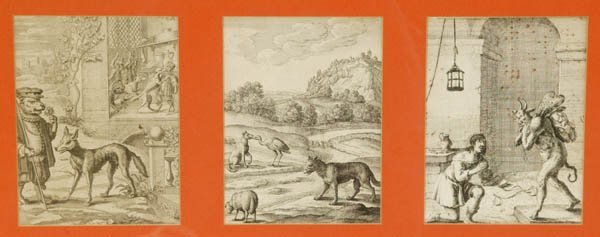 1: 4 Etchings Aesop's Fables 18th Century.