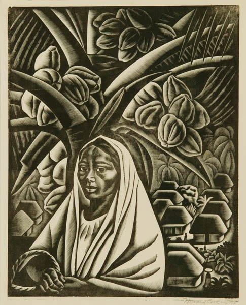 42: Howard Cook. Acapulco Girl. Wood engraving.