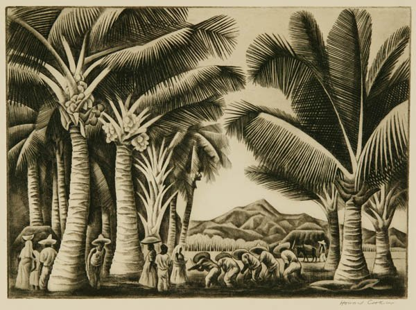 43: Howard Cook. Coconut Grove. Etching