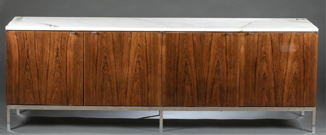 Florence Knoll rosewood & marble cabinet credenza.