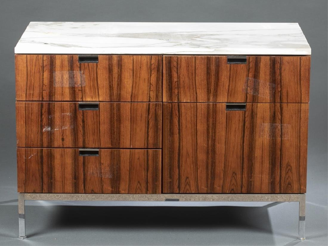 Florence Knoll rosewood & marble cabinet.