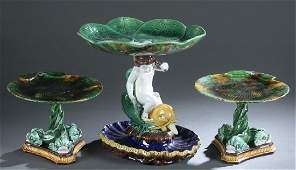 3 pieces of majolica Dolphin based compotes.
