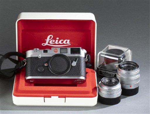 Leica M6 camera body, and 3 lenses, 20th century