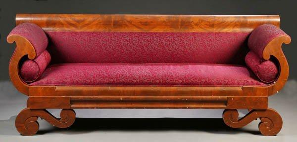 224: American Empire mahogany sofa. c