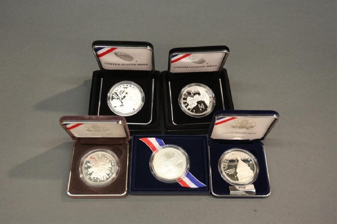 Five U.S. Commemorative Silver Dollars & Proofs