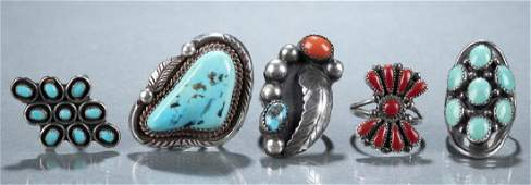4 Turquoise and coral rings including Navajo