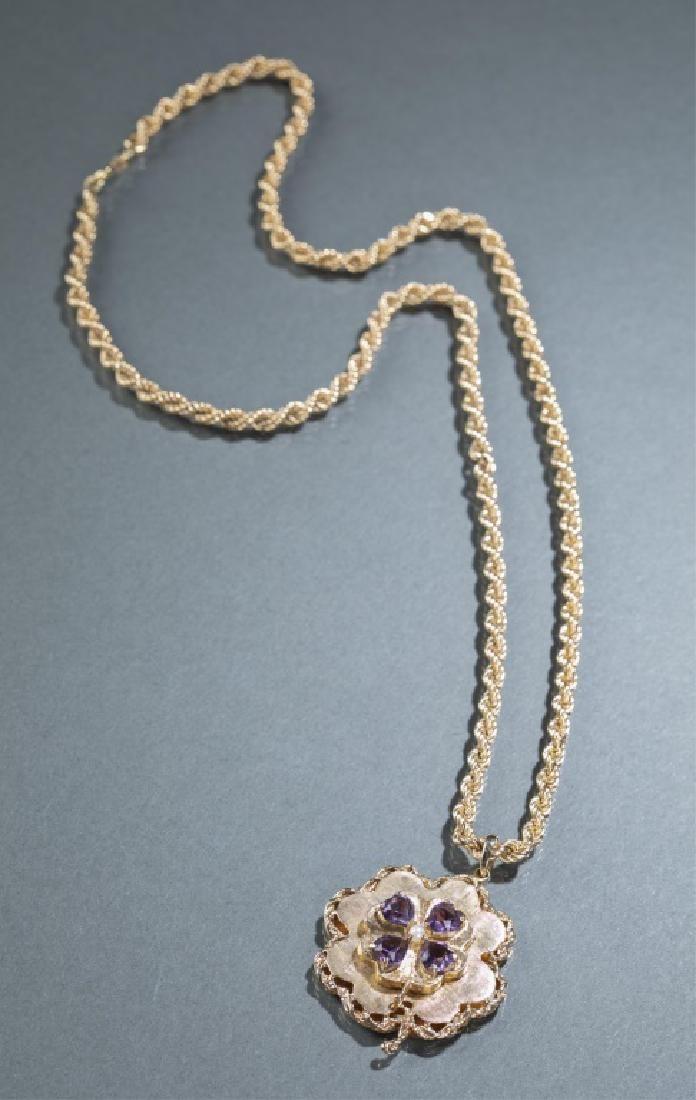 Four leaf clover gold & amethyst necklace.