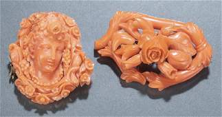 2 Victorian carved coral brooches
