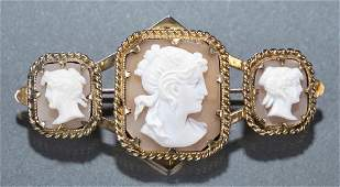 Victorian shell cameo brooch in 9k gold