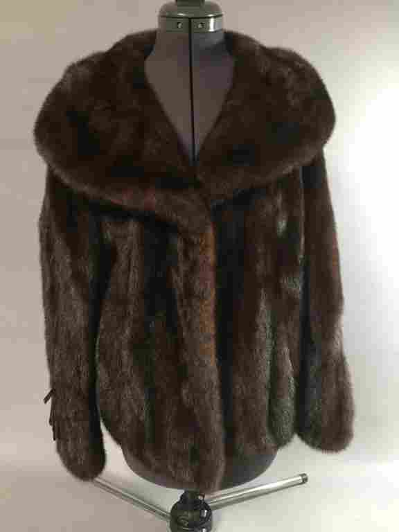 Brown Mink Fur Coat.