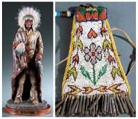 Plains figure & bag. 20th century.