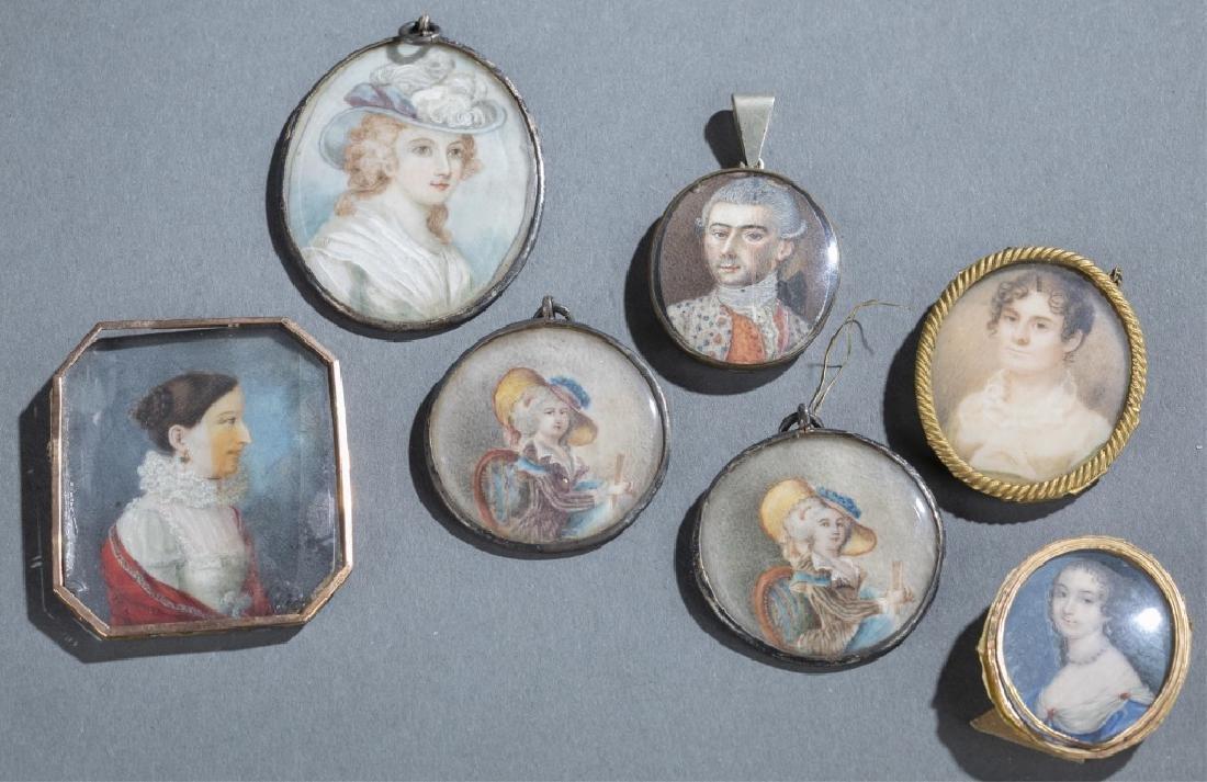 7 Portrait Miniature Pendants.