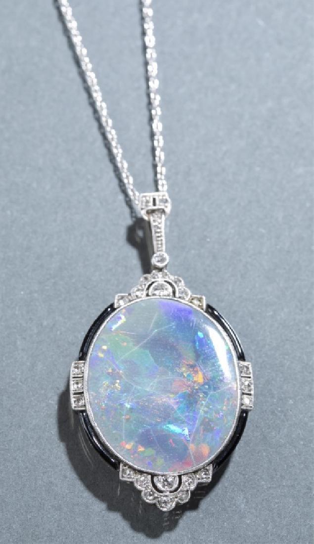 Art Deco opal & diamond pendant necklace.